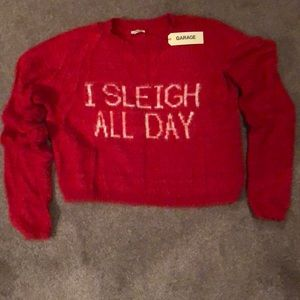 "NWT ""I Sleigh All Day"" Red  sweater from  Garage"